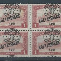 1919 Romania- Oradea Parlam.1L, Koztarsasag, suprat. deplasat(bloc de4)-MNH - Timbre Romania, Nestampilat
