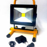 Proiector LED cu Acumulator 20W Alb Rece cu suport - Corp de iluminat, Proiectoare