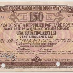 ROMANIA RPR TRAVEL CHECK CEC DE CALATORIE 150 LEI STAMPILAT 1958 BUDAPESTA - Cambie si Cec