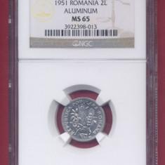 Romania 2 lei 1951, gradata MS65 de NGC, piesa de colectie! - Moneda Romania