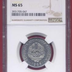 Romania 3 lei 1966 UNC, gradata MS65 de NGC, piesa de colectie! - Moneda Romania