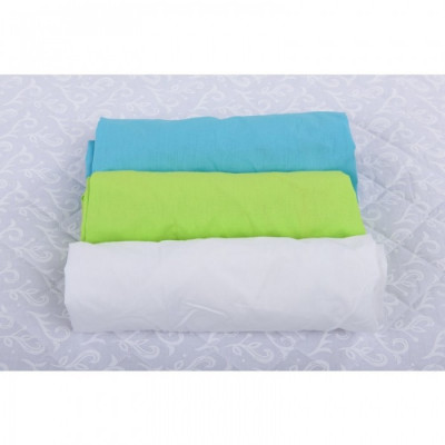 BabyNeeds Set 3xCearceaf cu elastic pt patut de 120x 60 cm bleu+verde+alb foto