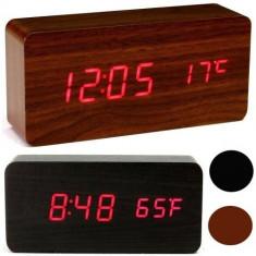 Ceas de birou modern dreptunghiular cu afisaj LED / Alarma / Temperatura - Ceas led