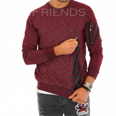 Bluza fashion barbati grena - COLECTIE NOUA 9378 - Pulover barbati, Marime: M, L, XL, Culoare: Din imagine, La baza gatului, Bumbac