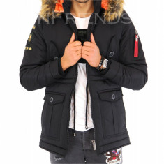 Geaca iarna neagra - geaca barbati - geaca slim fit COLECTIE NOUA 9395 N1, Marime: S, M, L, XL, XXL, Culoare: Din imagine