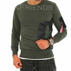 Bluza fashion barbati kaki - COLECTIE NOUA 9374 - Pulover barbati, Marime: S, M, L, XL, Culoare: Din imagine, La baza gatului, Bumbac
