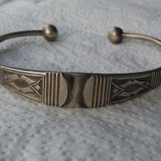 BRATARA argint NIGER TUAREGA etnic TRIBALA reglabila VECHE splendida RARA