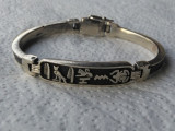 Bratara argint EGIPT superba VECHE cu multiple Simboluri Egiptene MASIVA vintage