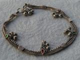 "Bratara argint etnica TRIBALA afghana de Picior SUPERBA vintage cu ""clopotei"""