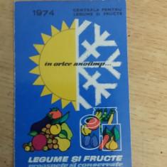 CCO 1974 - CALENDAR DE COLECTIE - TEMATICA RECLAMA - LEGUME FRUCTE - ANUL 1974 - Calendar colectie