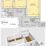 Vand apartament 3 camere, Manastur Central, 68 mp, parter inalt, decomandat - Apartament de vanzare, Numar camere: 3, An constructie: 1977
