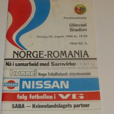 Program meci fotbal NORVEGIA - ROMANIA (20.08.1986)