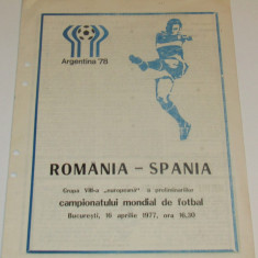 Program meci fotbal ROMANIA - SPANIA (16.04.1977)