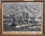 Apus de soare in Genck - semnat  Rachele Delporte 1904, Peisaje, Carbune, Altul