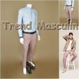 Pantaloni Barbati Chino Office Slim Casual Fashion Eleganti Roz