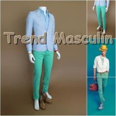 Pantaloni Barbati Chino Office Slim Casual Fashion Eleganti Verzi Mint, Verde