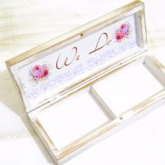 Cutiuta verighete personalizata – Watercolor Love Rose, Cadouri Valentine`s Day