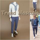 Pantaloni Barbati Chino Office Slim Casual Fashion Eleganti Albastri Inchis, Albastru