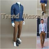 Pantaloni Barbati Chino Office Slim Casual Fashion Eleganti Maro Bronz