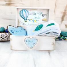 Hot Air Balloons Baby Gift Set- Cadou Bebe, Cadouri Valentine`s Day