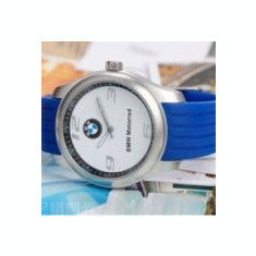 BMW Ceas Model BMW curea silicon cadran alb curea albastra MOTORRAD