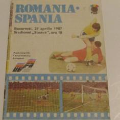 Program meci fotbal ROMANIA - SPANIA (29.04.1987)