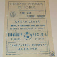Program meci fotbal ROMANIA(tineret) - AUSTRIA(tineret) 09.09.1986