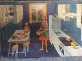 "PLANSA  DIDACTICA  VINTAGE - 'LOCUINTA NOASTRA : BUCATARIA "" 1977 - DIMENS MARI"