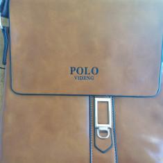 Geanta POLO VIDENG cu eticheta - de umar - din piele PU ecologica 27x25x5 cm - Geanta Barbati, Marime: Mica, Culoare: Negru, Geanta tip postas