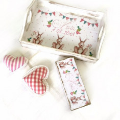 Set 1 an Bunny Pink or Blue – tava si cutiuta prima suvita personalizate