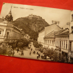 Ilustrata Deva - Centru si vedere spre Cetate, circulat 1963 - Carte Postala Transilvania dupa 1918, Circulata, Fotografie
