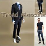 Pantaloni Barbati Chino Office Slim Casual Fashion Eleganti Albastri Imprimeu, Albastru