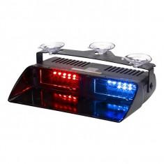 Lampa LED stroboscopica pentru parbriz ROSU-ALBASTRU COD: S2