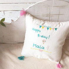Happy B-Day Embroidered Cushion- Perna decorativa copii personalizata