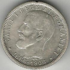 1 LEU 1906 FARA PUNCT ARGINT STARE FOARTE BUNA - Moneda Romania