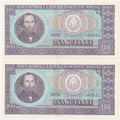 ROMANIA 2 bancnote x 100 lei 1966 UNC SERIE CONSECUTIVA - Bancnota romaneasca