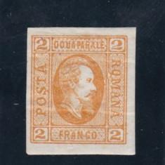 ROMANIA 1865 LP 15 ALEXANDRU I. CUZA 2 PARALE PORTOCALIU POINCON L. PASCANU - Timbre Romania, Nestampilat