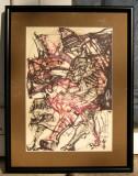 Marcel Pavel grafica tehnica mixta tablou abstract mitologic 31x40 cm, Cerneala