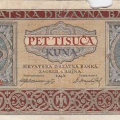 CROATIA 5.000 kuna 1943 F!!! - bancnota europa