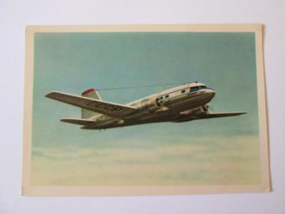 Avion pasageri IL-14,carte postala necirculata Aeroflot din anii 50 foto