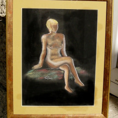 Tablou Nud semnat pictat in pastel inramat 40x50 cm - Pictor roman, Realism