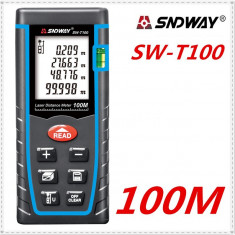 Telemetru / ruleta laser profesional 100M (preciz. 2mm), lentile Germania SNDWAY