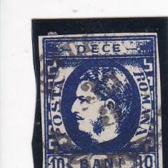 ROMANIA 1869 LP 26 CAROL I CU FAVORITI 10 BANI ALBASTRU POINCON L. PASCANU STAMP - Timbre Romania, Stampilat