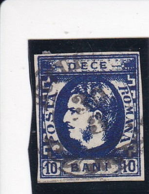 1869 LP 26 a CAROL I CU FAVORITI 10 BANI ULTRAMARIN POINCON L.PASCANU STAMPILAT foto