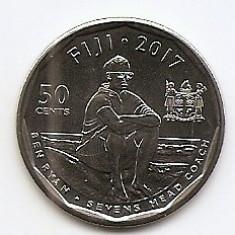 Fiji 50 Centi 2017 - (Rugby 7's) 26.5 mm, KM-New UNC !!!, Australia si Oceania