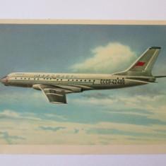 Avion pasageri TU-104 B,carte postala necirculata Aeroflot din anii 50
