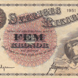 SUEDIA 5 kronor 1951 VF/VF+!!! - bancnota europa