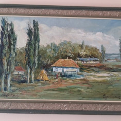 Tablou scoala romaneasca - peisaj sat romanesc pictor OBREJA VASILE-ulei cutit