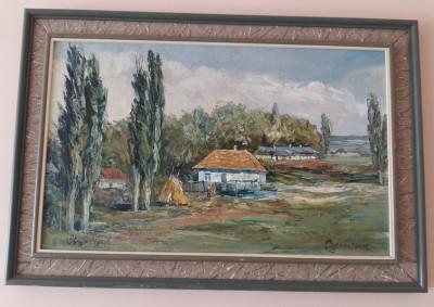 Tablou scoala romaneasca - peisaj sat romanesc pictor OBREJA VASILE-ulei cutit foto