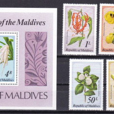 Maldive 1979 flori MI 837-841 + bl.59 MNH w45 - Timbre straine, Nestampilat